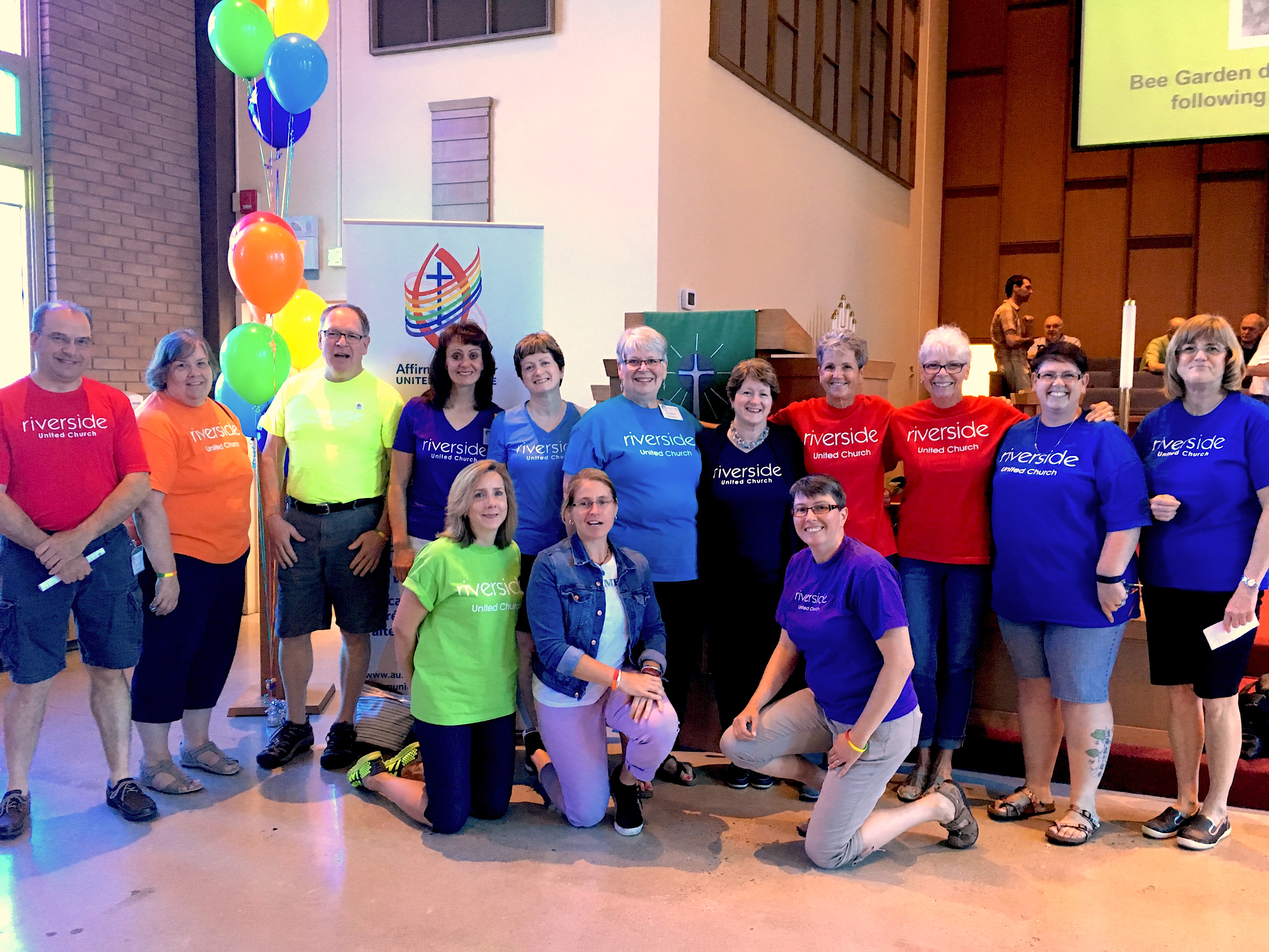 Riverside United Church in London ON celebrates becoming Affirming and rejoices in their funky t-shirts, June 2017.