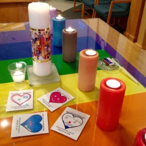 Affirming celebration, McClure United Church, Saskatoon. Cards about love created by the Church School.