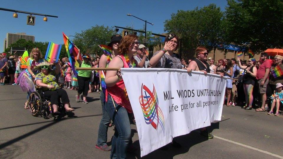Millwoods United members marching at Edmonton Pride.