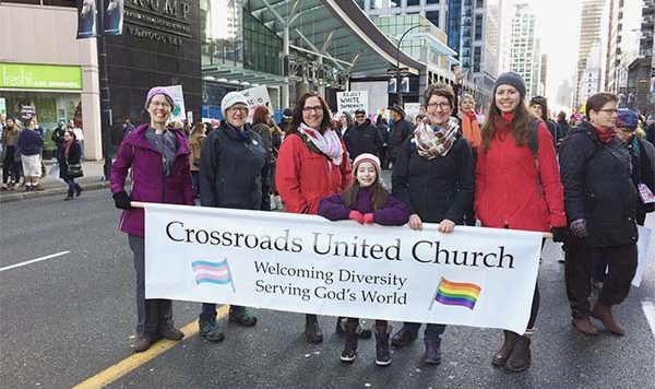 Crossroads United at the Women's March, Vancouver BC, January 2017