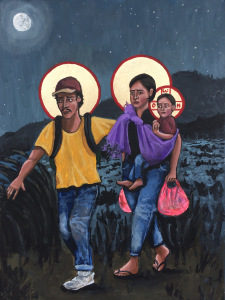 Mary, Joseph and Jesus depicted as a migrant family, fleeing at night with Jesus wrapped in a purple blanket, and only a small backpack and a pink shopping bag.